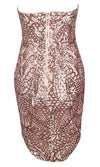 Toast Of The Town Beige Gold Geometric Sequin Strapless V Neck Mini Dress - Sold Out