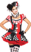 Harlequin Hottie Black Red White Stripe Diamond Geometric Pattern Short Sleeve Ruffle V Neck Flare A Line Mini Dress Halloween Costume