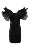 Fire Starter Black Sheer Lace Beige Panel Short Sleeve Ruffle Deep Plunge V Neck Bodycon Satin Mini Dress
