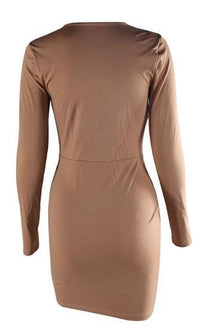 Made For You Light Brown Long Sleeve Cut Out Keyhole Ruched Twist Tie Front Bodycon Mini Dress - Sold out