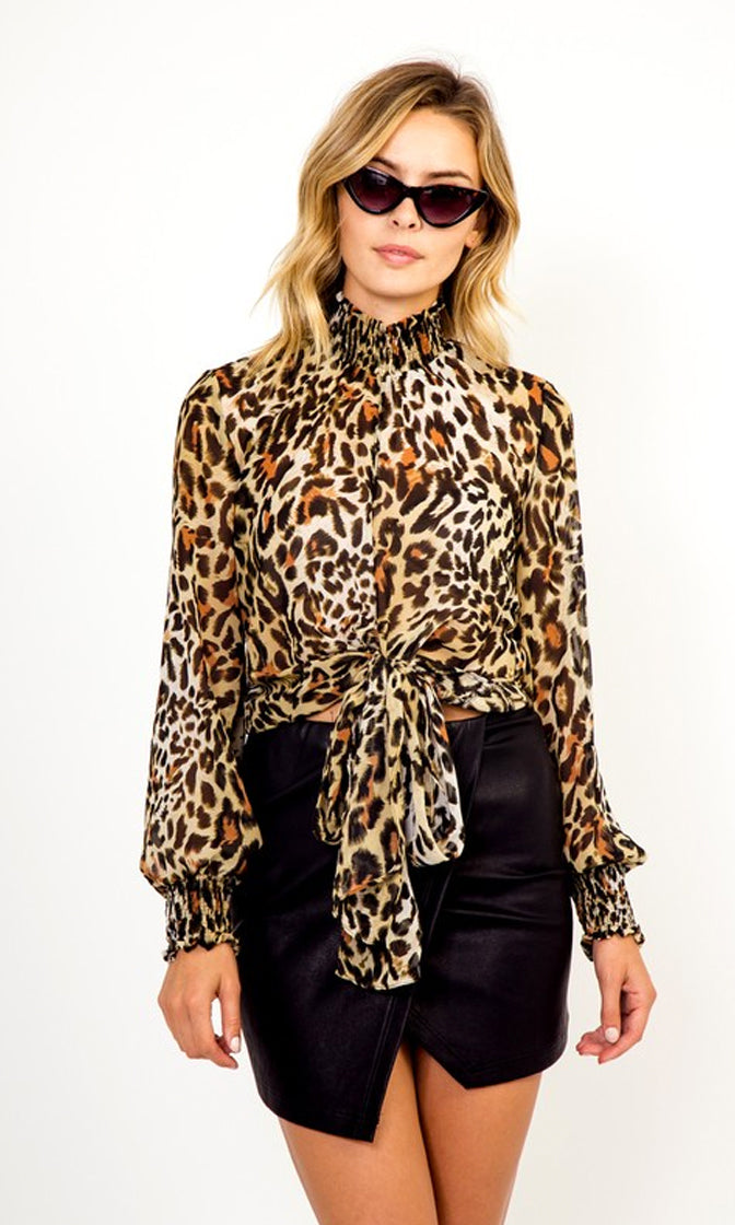 Meet Me Halfway Cheetah Print Animal Pattern Long Lantern Sleeve Mock Neck Tie Front Blouse Top