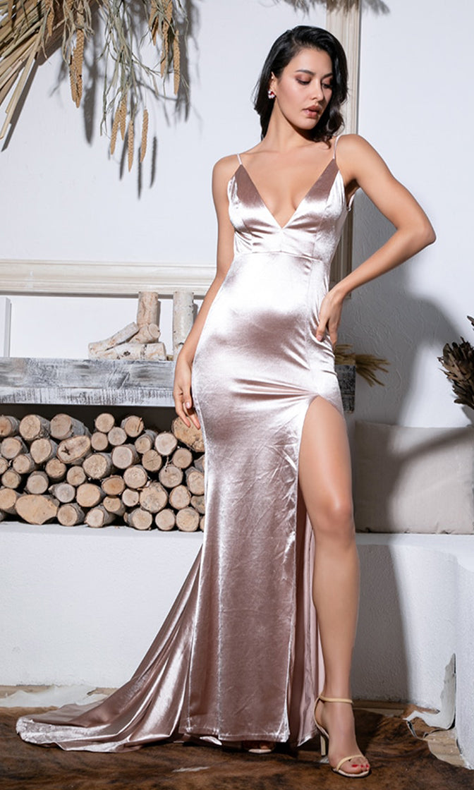 Hollywood Fantasy Apricot Satin Sleeveless Spaghetti Strap V Neck Backless Ruched High Slit Mermaid Maxi Dress