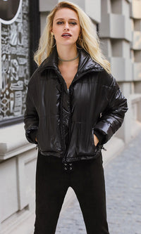 In A Puff PU Faux Leather Quilted Padded Zip Front Puffer Coat Outerwear - 4 Colors Available - Sold Out