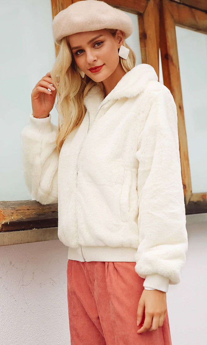 Plush Life White Faux Fur Long Sleeve Zip Front Coat Outerwear - Sold Out