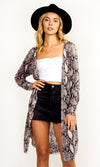 Devil In Disguise Glitter Long Sleeve Open Front Long Duster Cardigan Jacket Outerwear