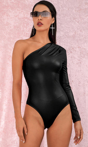 Basically Perfect Black PU Long Sleeve One Shoulder Bodysuit Top