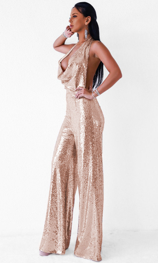 c858259073 Disco Ball Rose Gold Sequin Sleeveless Backless Halter Cowl Neck Wide Leg  Jumpsuit