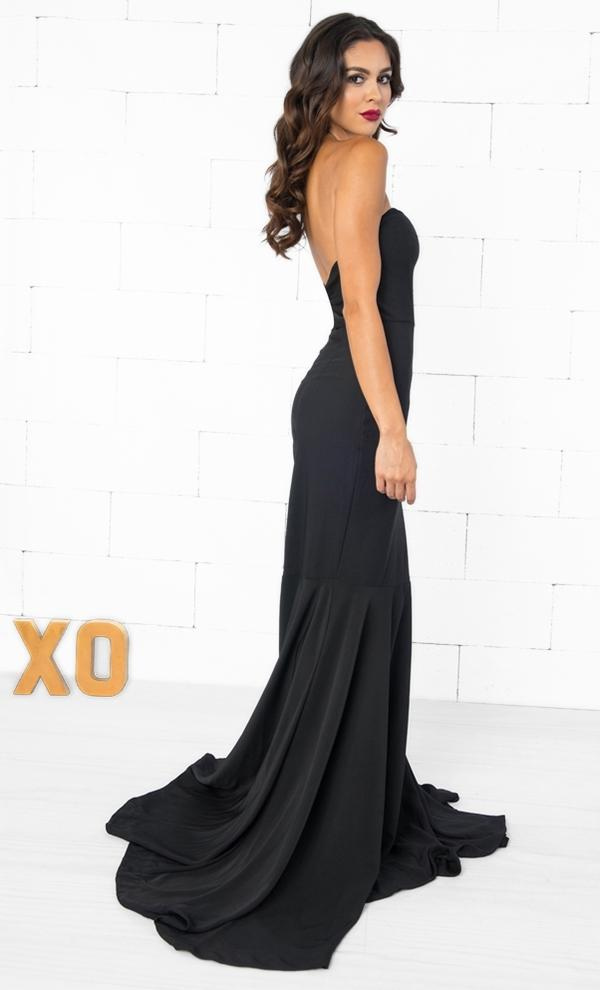 Indie XO Black Tie Affair Strapless Zip Back Mermaid Maxi Dress Gown - Just Ours!