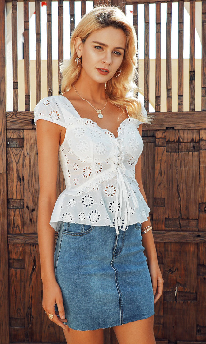 33b99dc9b981df Another Day White Eyelet Lace Cap Sleeve Sweetheart Neck Lace Up Peplum  Blouse Top