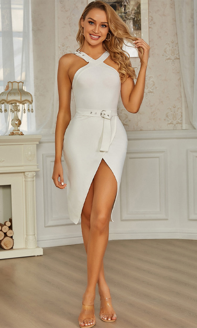 Whisper In My Ear White Sleeveless Grommet Strap Halter V Neck Belt Wrap Bandage Bodycon Mini Dress