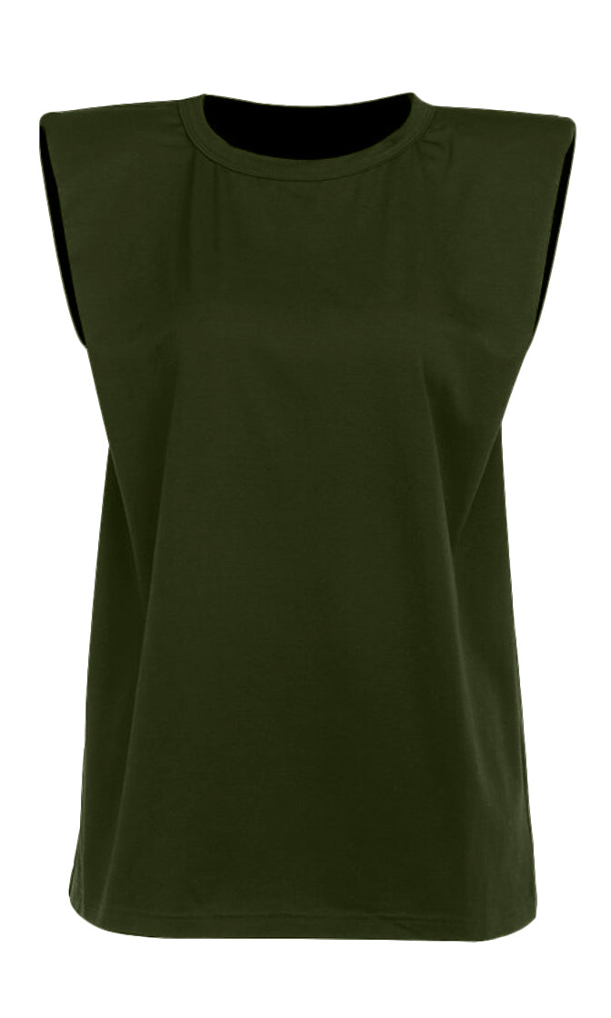Strong And Stylish Army Green Solid Classic Basic Shoulder Pad Muscle Tee Round Scoop Neck Tee Shirt Sleeveless Top