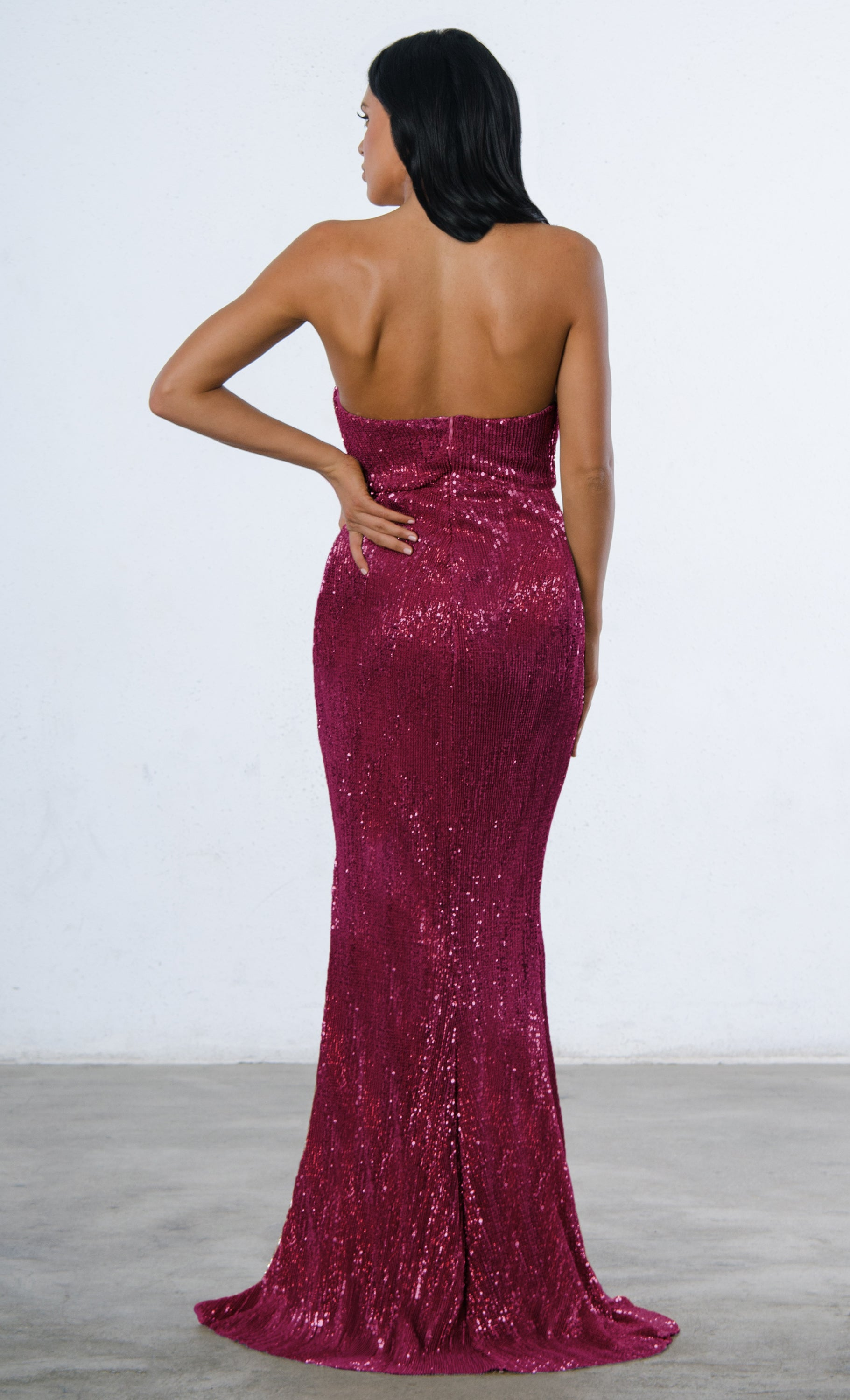 f6372a807b Indie XO Show Me Some Love Burgundy Wine Red Sequin Strapless Sweetheart  Neck High Slit Fishtail