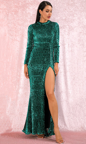 Hollywood Glitz Green Sequin Long Sleeve Mock Neck High Slit Maxi Dress
