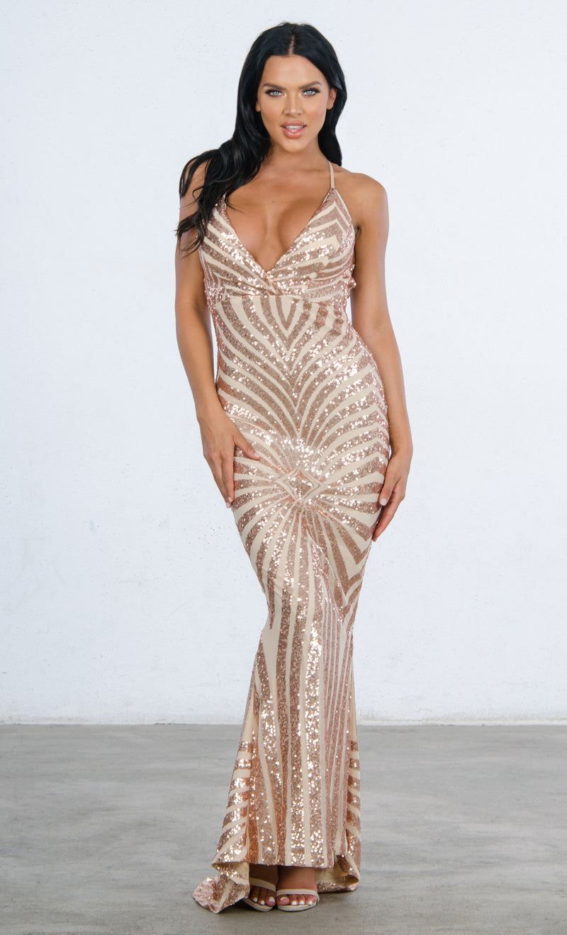 Indie XO Champagne Dreams Black Sequin Geometric Pattern Sleeveless Spaghetti Strap V Neck Mermaid Maxi Dress