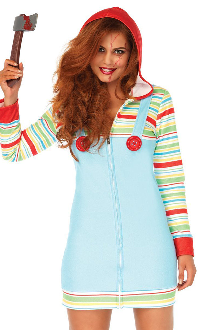 Scary Doll Blue Green Red Horizontal Stripe Pattern Fleece Long Sleeve Hood Zip Front Bodycon Mini Dress Halloween Costume