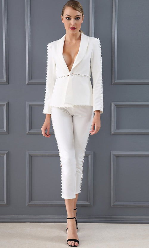 I'm In Charge White Long Sleeve Plunge V Neck Button Trim Jacket Skinny Crop Pant Two Piece Set