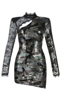 London Look Black Sequin Sheer Lace Camouflage Pattern Long Sleeve Mock Neck Cut Out Asymmetric Bodycon Mini Dress