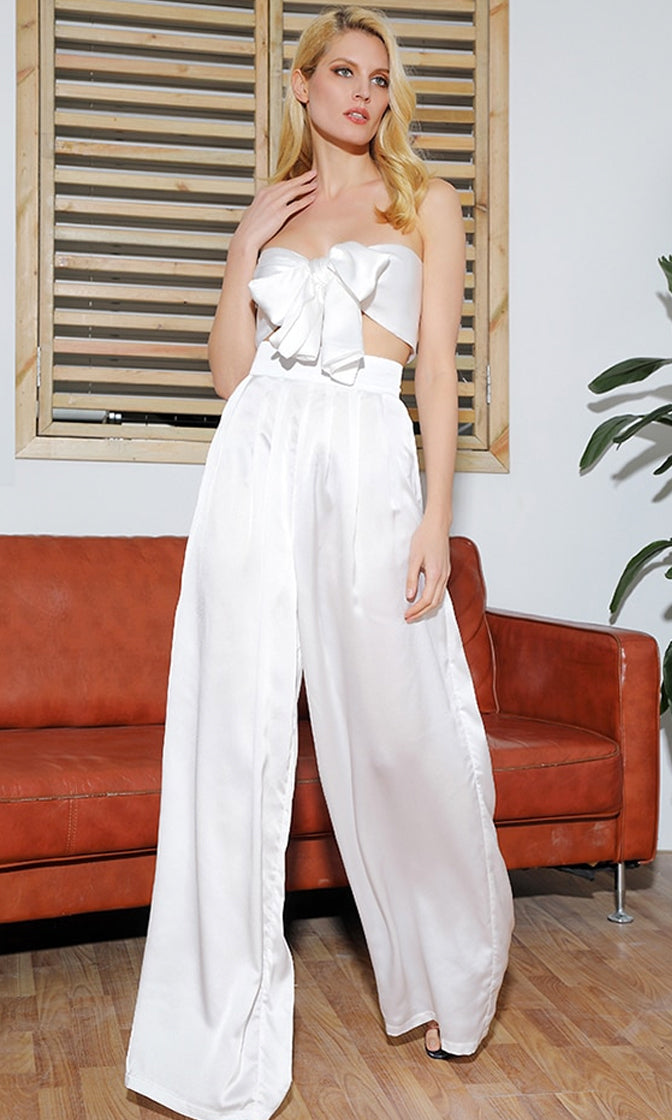 Indie XO In The Lead White Strapless Tie Front High Waist Palazzo Pants - 2 Colors Available