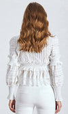 Extra Special Lace Long Lantern Sleeve Plunge V Neck Ruffle Blouse Top - 2 Colors Available - Sold Out