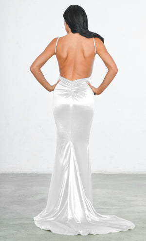 Indie XO White Glowing Goddess Satin Sleeveless Spaghetti Strap Plunge V Neck Ruched Back Mermaid Maxi Dress - 4 Colors Available