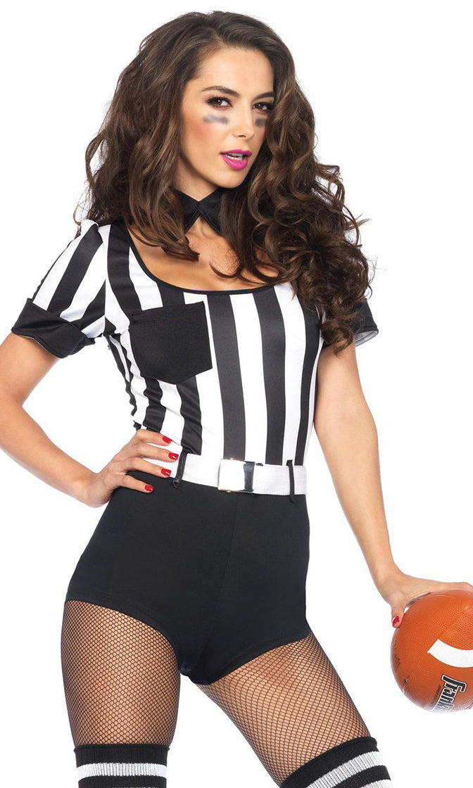 My Field My Rule Black White Vertical Stripe Pattern Short Sleeve Scoop Neck Bodycon Romper Playsuit Halloween Costume