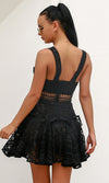 Peer Pressure Black Lace Sleeveless Plunge V Neck Cut Out Ruffle Mini Dress