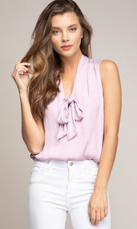 Good Luck Charm Sleeveless V Neck Bow Tank Top Blouse - 6 Colors Available - Sold Out