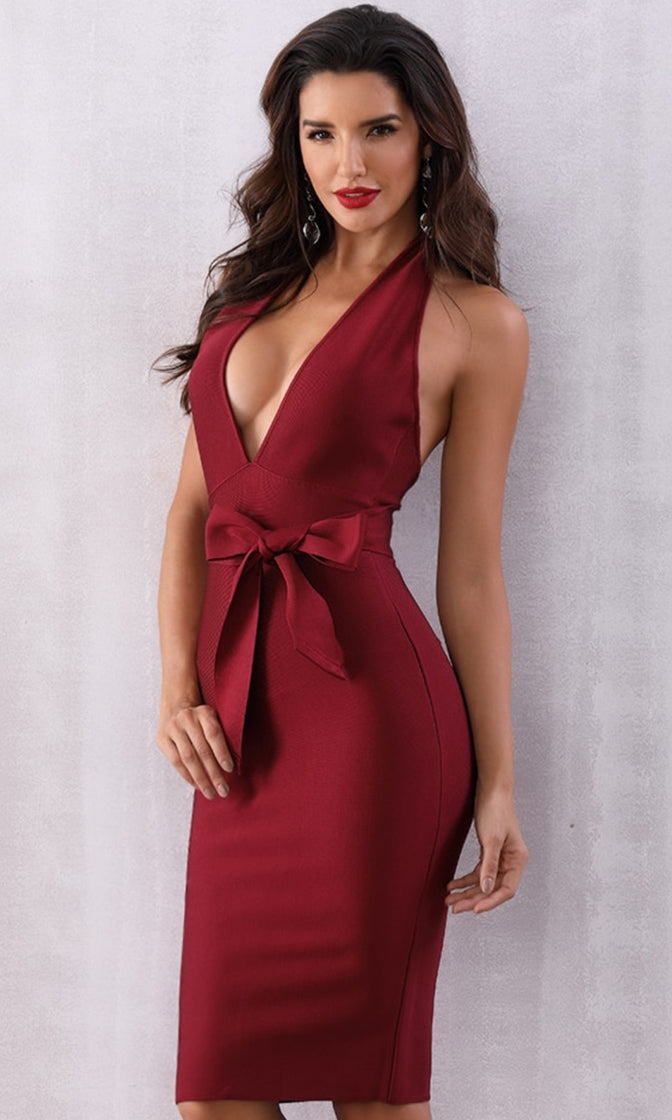 You're My Person Burgundy Sleeveless Backless Plunge V Neck Halter Tie Waist Bodycon Bandage Midi Dress