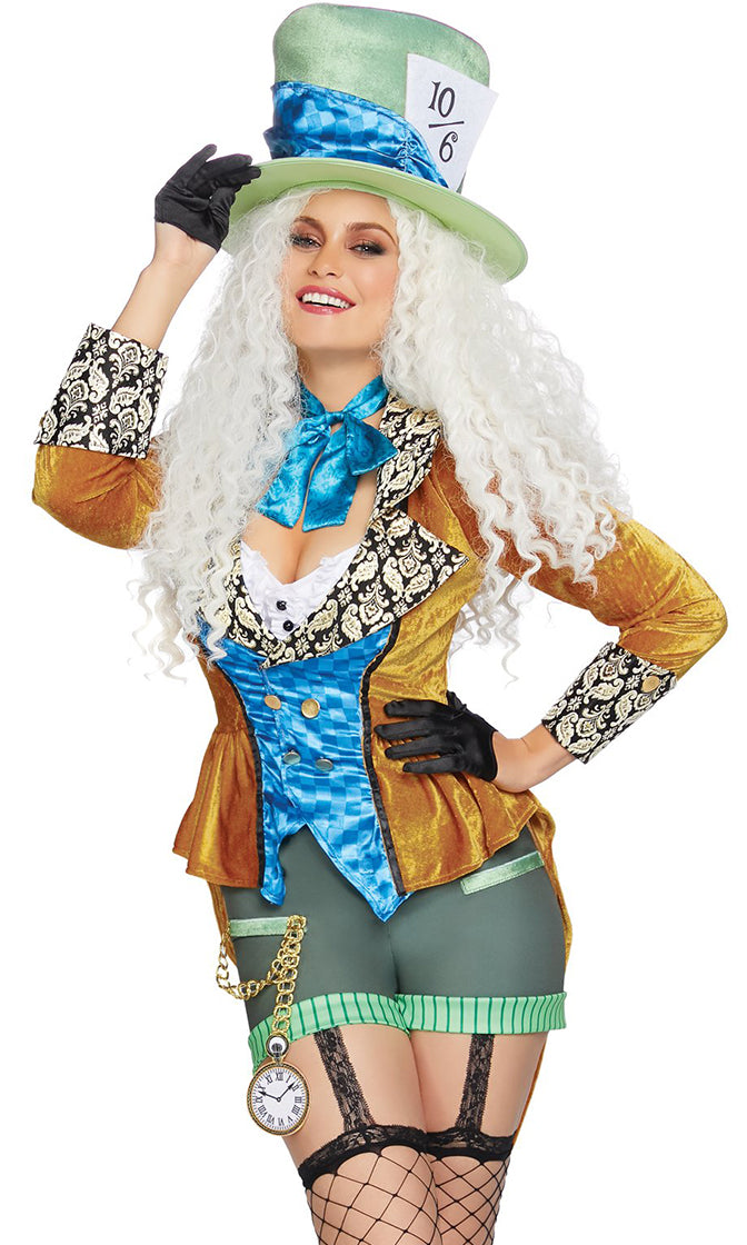 Mad As A Hatter Blue Gold Green Velvet Long Sleeve Brocade Jacket Bodycon Short Romper Halloween Costume