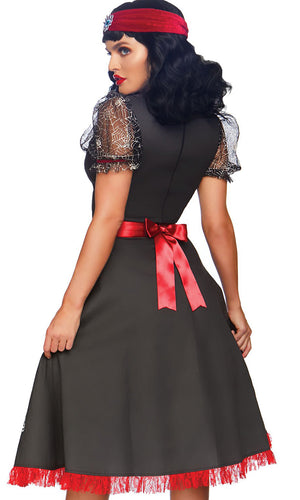 Conjuring Spirits Black Red White Sheer Mesh Lace Short Sleeve Cut Out V Neck Flare A Line Midi Dress Halloween Costume