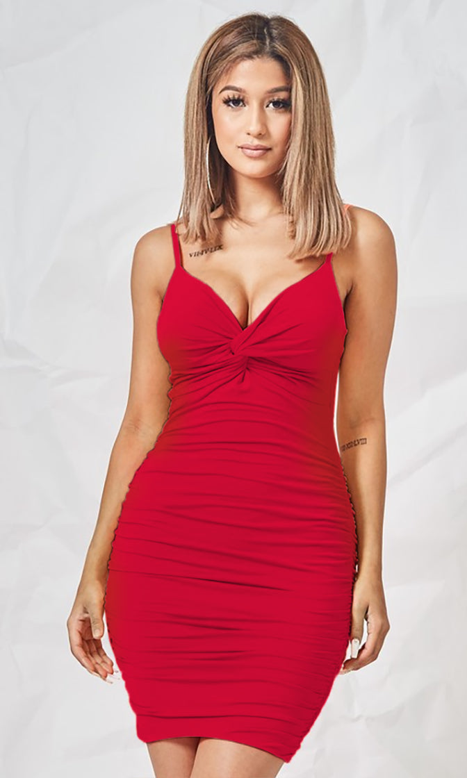 Breaking Ground Red Sleeveless Spaghetti Strap Ruched Twist Knot V Neck Bodycon Mini Dress - 2 Colors Available