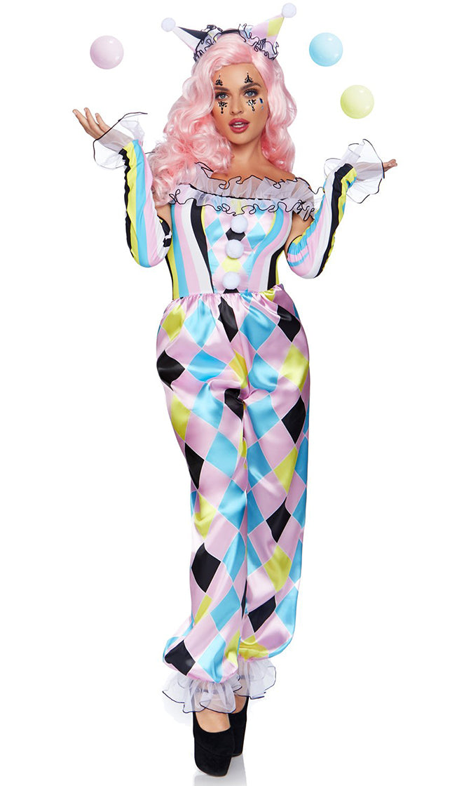 Clown Cutie Purple Blue Yellow Black Diamond Geometric Pattern Ruffle Off The Shoulder Jumpsuit Halloween Costume