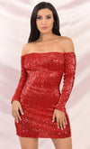 Ritzy Glitz Red Sequin Long Sleeve Puff Shoulder Plunge V Neck Ruffle Bodycon Mini Dress