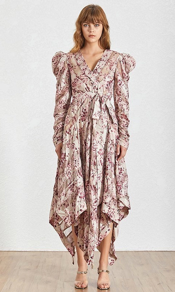 Cafe Au Lait Beige Purple Floral Pattern Long Sleeve Puff Shoulder Cross Wrap V Neck Tie Waist Handkerchief Hem Casual Maxi Dress