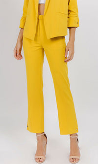 Ladies First Straight Crop Leg Medium Rise Pockets Metal Button Trim Suit Crepe Trousers Pants - 3 Colors Available - Sold Out
