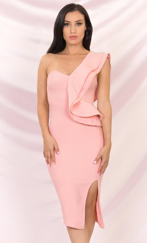 Prize Winner Pink Sleeveless Bandage One Shoulder Ruffle Bodycon Side Slit Midi Dress