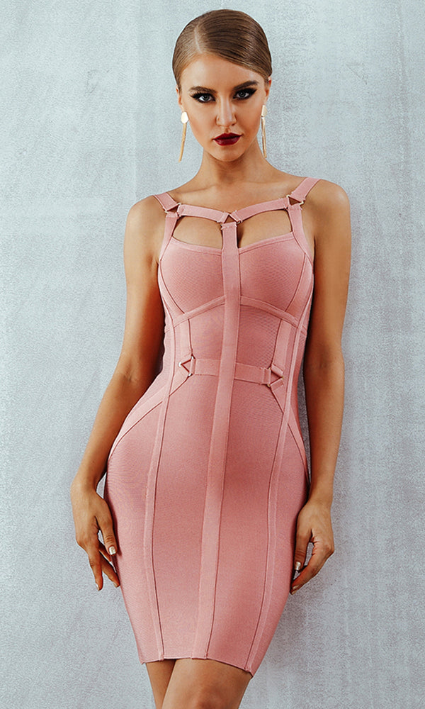 Sweet Lover Pink Sleeveless Harness V Neck Cut Out Bodycon Bandage Mini Dress
