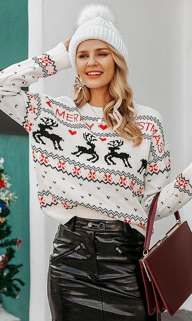 Deck The Halls Heart Reindeer XMAS Merry Christmas Pattern Long Sleeve Crew Neck Pullover Ugly Sweater