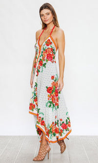Flower Power Floral Pattern Multicolored Sleeveless Halter Spaghetti Strap Backless Casual Handkerchief Maxi Dress- 2 Colors Available - Sold Out