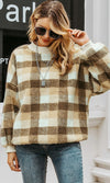 Bear Hug Plaid Pattern Long Lantern Sleeve Mock Neck Sherpa Fleece Loose Pullover Sweatshirt Top - 2 Colors Available