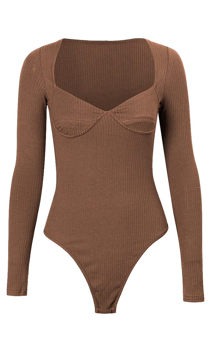 I'm Feeling Good Ribbed Long Sleeve V Neck Thong Bodysuit Top - 4 Colors Available
