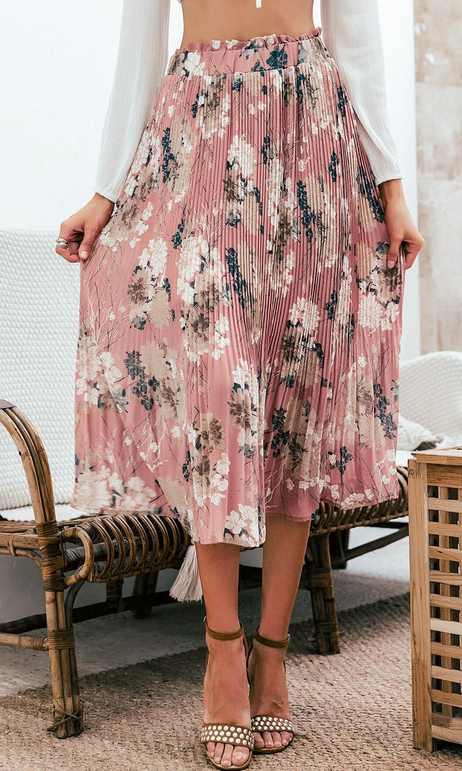 Moment To Moment Floral Pattern Elastic Waist Ruffle Pleated Chiffon A Line Casual Midi Skirt