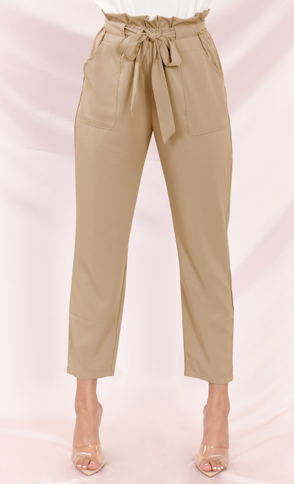 Urban Escape Khaki Tie Waist Loose Tapered Leg Pocket Trouser Pants