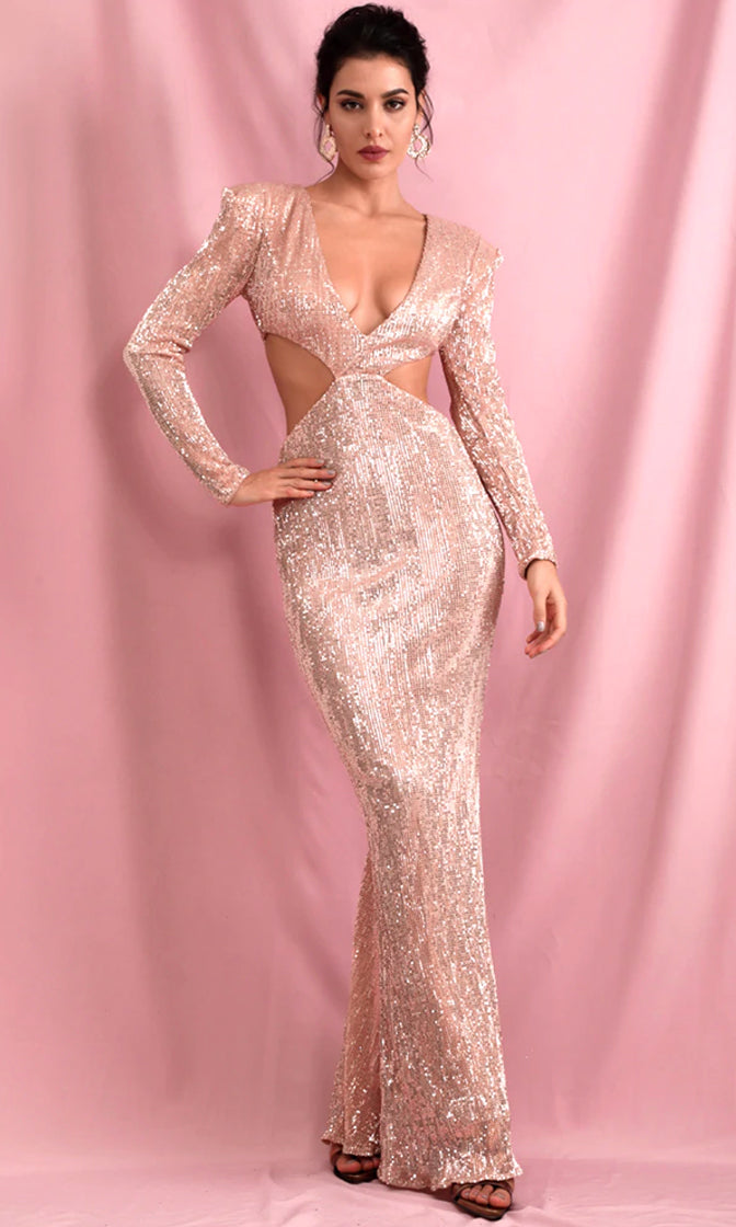 Starry Gaze Rose Gold Sequin Long Sleeve Plunge V Neck Cut Out Side Open Back Maxi Dress