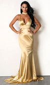 Oh So Glamorous Green Sleeveless Spaghetti Strap Satin Plunge V Neck Backless Mermaid Maxi Dress