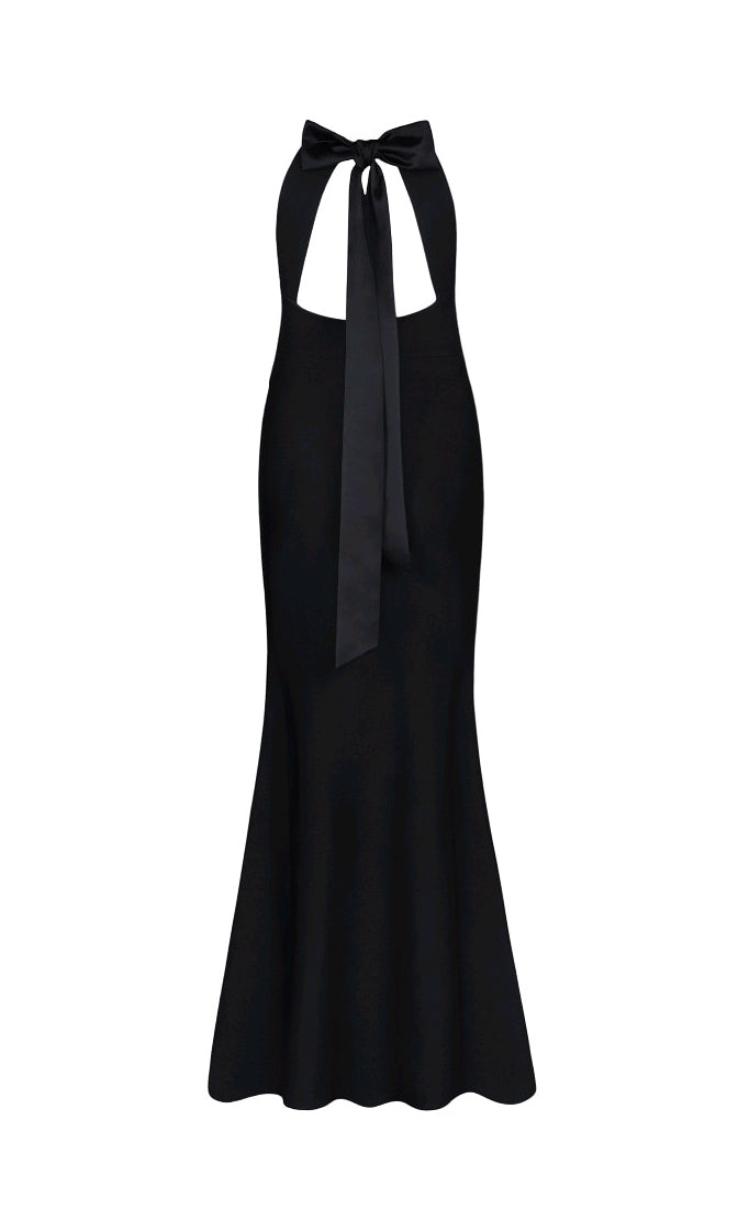 In The Midnight Hour Black Sleeveless Round Neck Cut Out Back Satin Bow Bandage Bodycon Mermaid Maxi Dress
