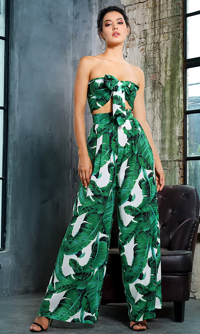 Tropical Romance Green Leaf Pattern Strapless Bow Crop Top Wide Leg Loose Pants Two Piece Jumpsuit