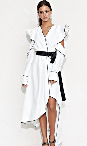 In My Penthouse White Black Long Sleeve Ruffle Cut Out Arms Open Back Belted Wrap High Low Maxi Dress - Sold Out