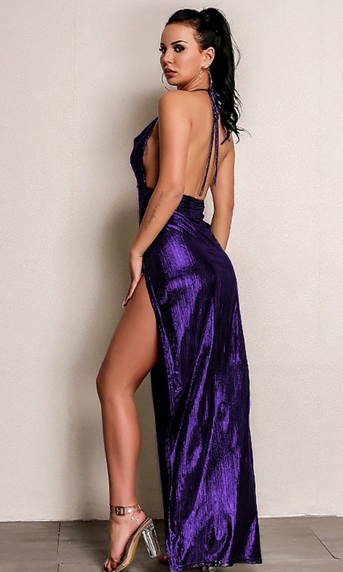 So Mysterious Violet Metallic Sleeveless Spaghetti Strap Backless Halter Drape V Neck Side Split Maxi Dress - 2 Colors Available