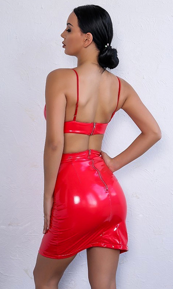 Two Timer Red PVC Sleeveless Lace Up Crop Top Bodycon Faux Leather Two Piece Mini Dress